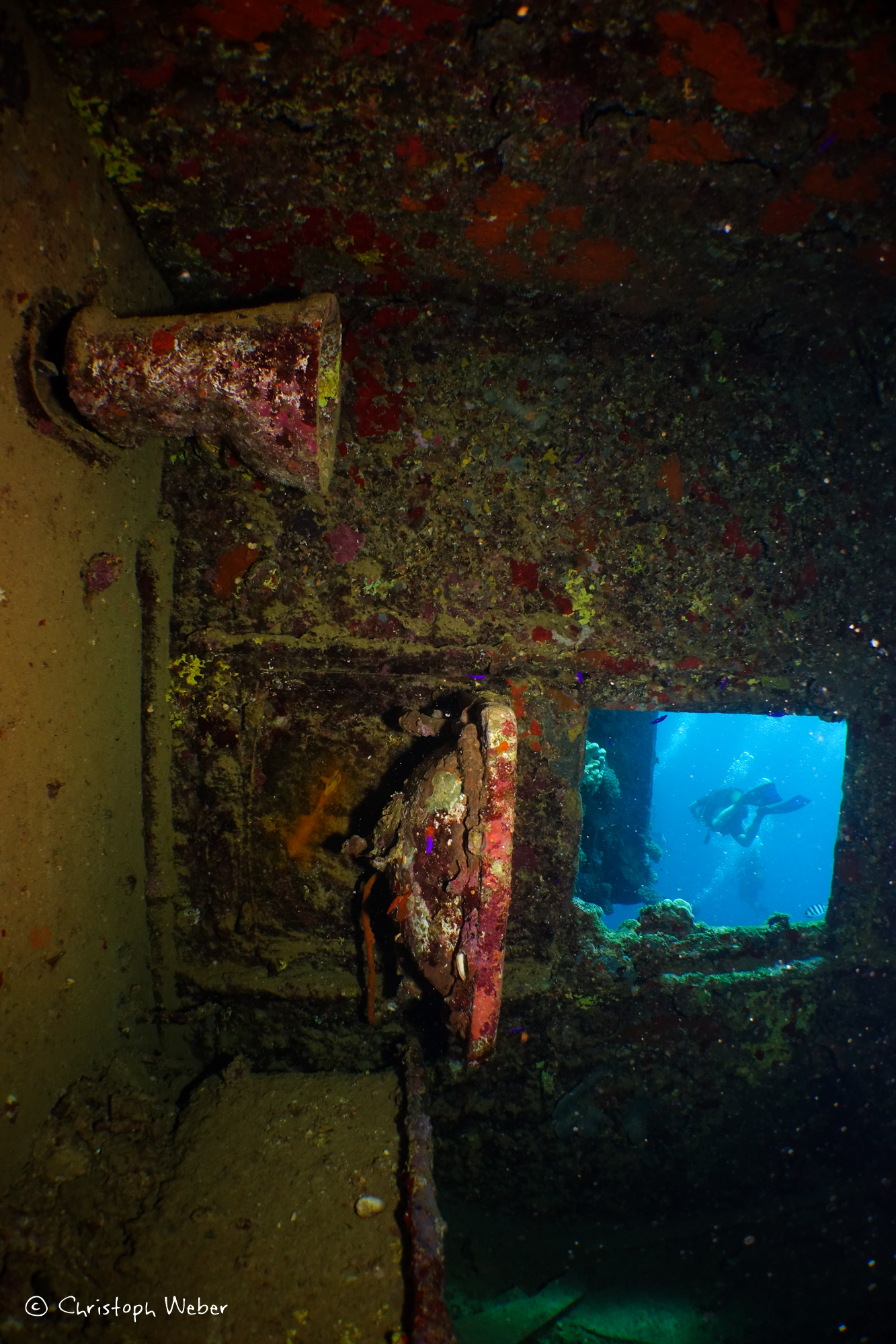 Umbria wreck, from inside the Captain's bathroom